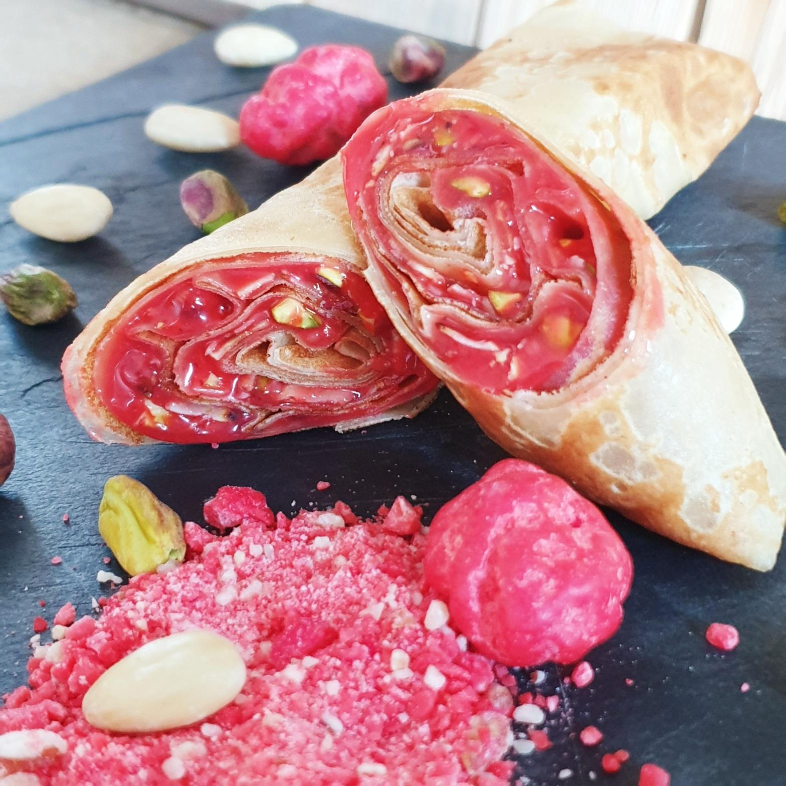 Crepe à la crème de praline rose